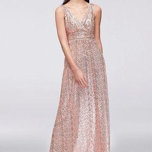 David's Bridal Rose Gold Sequin Bridesmaid Dress